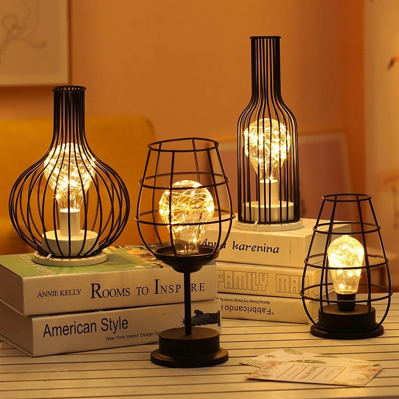 Creative Lantern Red Wine Bottle LED Lamp Drinking Glass Light For Cafe Hotel Balcony
