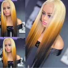 Latina reta loira colorido cabelo humano pré arrancado brasileiro remy natural linha fina amarelo ombre hd peruca dianteira do laço transparente