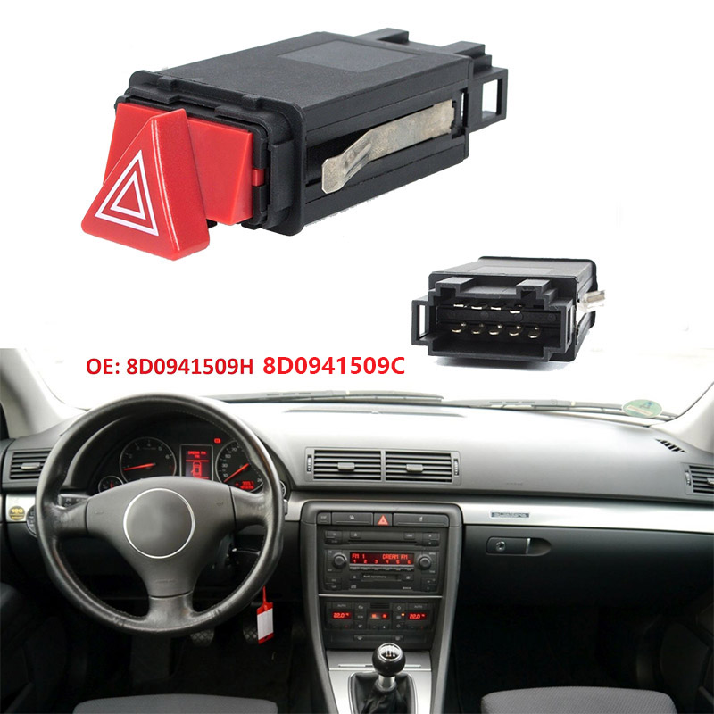 Car Emergency Hazard Warning Indicator Light Switch Red Button 8D0941509H 8D0 941 509 H For Audi A3 A4 A6 C5 Allroad