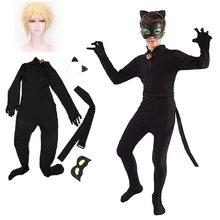 Carnavai quente gato gato gato noir traje cosplay crianças conjunto elastano macacao menina dia das bruxas
