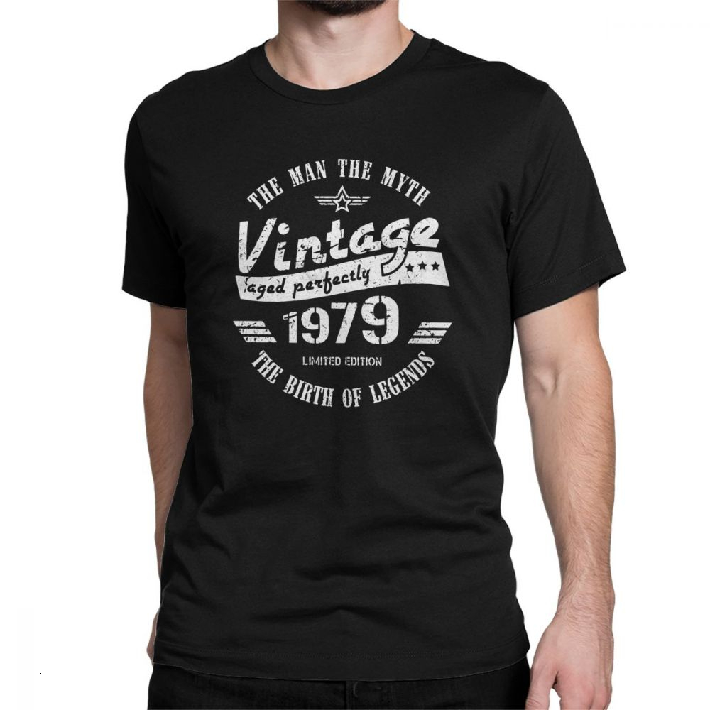 Tyburn <font><b>Vintage</b></font> <font><b>1979</b></font> Awesome T Shirt 40th Birthday Gift Short Sleeve Funny Tops Black Tee 100% Cotton Crewneck T-Shirt Plus Size image
