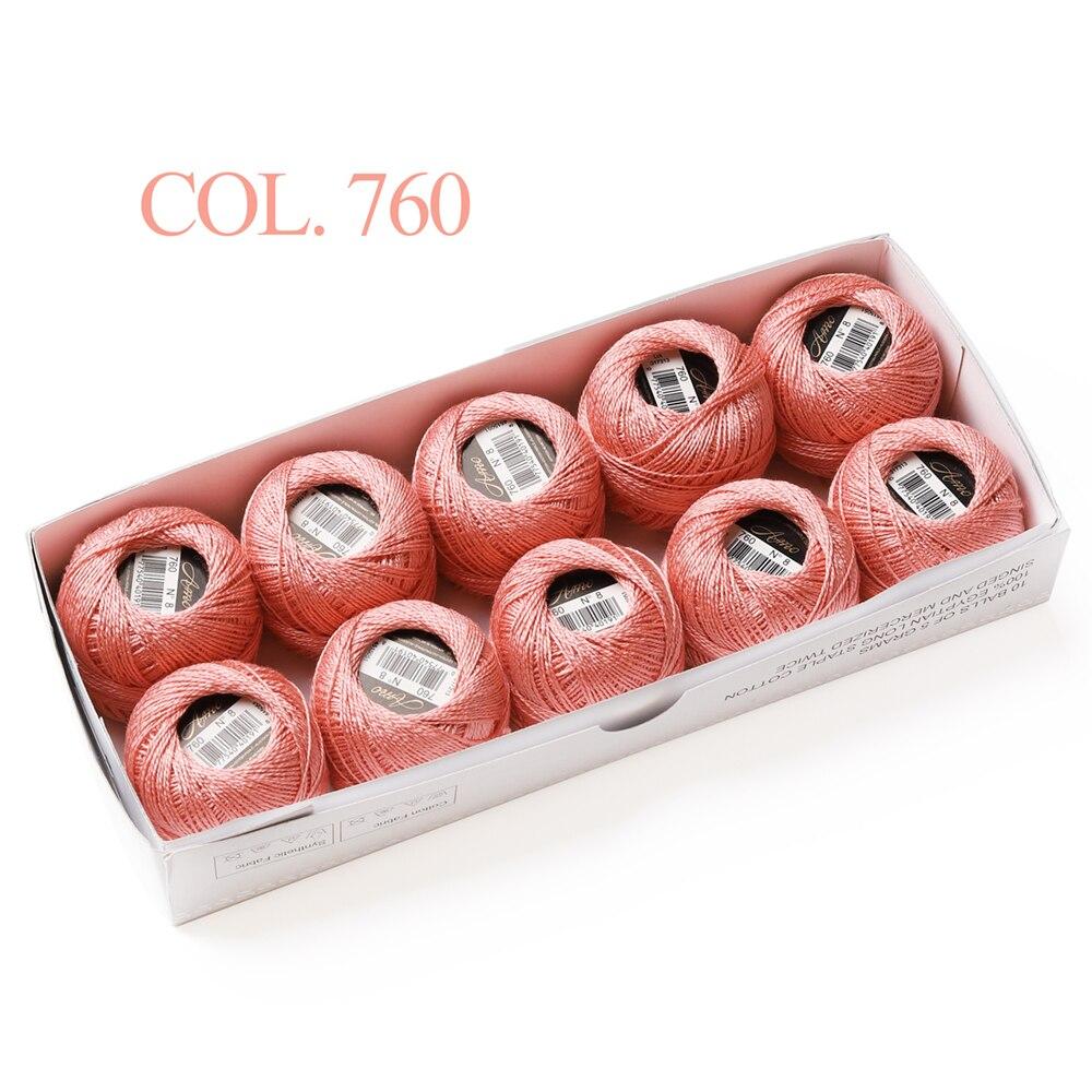 Размер 8 жемчужный хлопок крючком нить 43 ярдов Двойной Мерсеризованный длинноштапельный Египетский хлопок 79 DMC цвета доступны 10 коробка с шариками - Цвет: 760