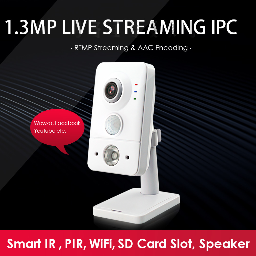1.3MP RTMP WiFi Live IPCamera AAC Audio TF Card Network Camera Push Video Stream To YouTube/Wowza By RTMP