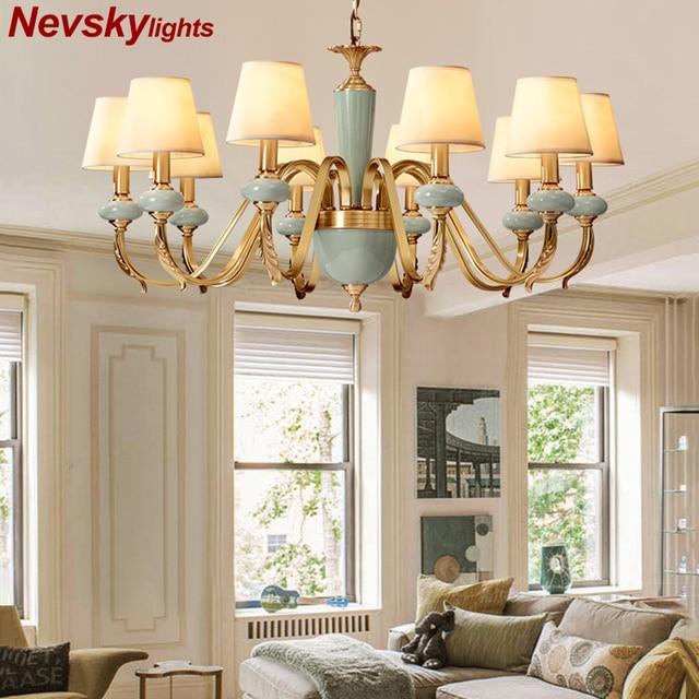 Модные потолочные люстры для гостиной керамические люстры с абажуром на кухню люстра потолочная с фарфорой подвесные светильники для спальни латунные люстры потолочные