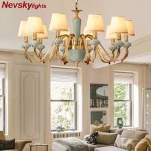 Lustres de teto moderna sala estar cerâmica lustre iluminação jantar cobre com porcelana latão luminárias quarto