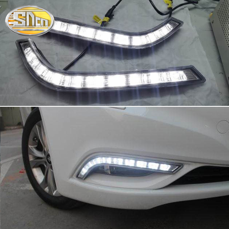 2PCS For Hyundai Sonata 2011 2012 2013 2014 YF Turn Yellow Signal Function 12V Car DRL Lamp Waterproof LED Daytime Running Light