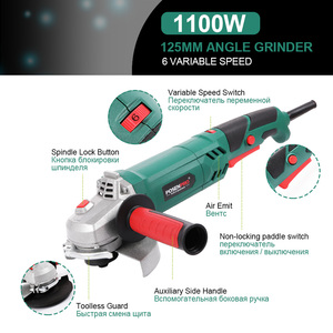 Image 5 - Electric Angle Grinder 1050W 125mm Variable Speed 3000 10500RPM Toolless Guard for Cutting Grinding Metal or Stone Work LANNERET