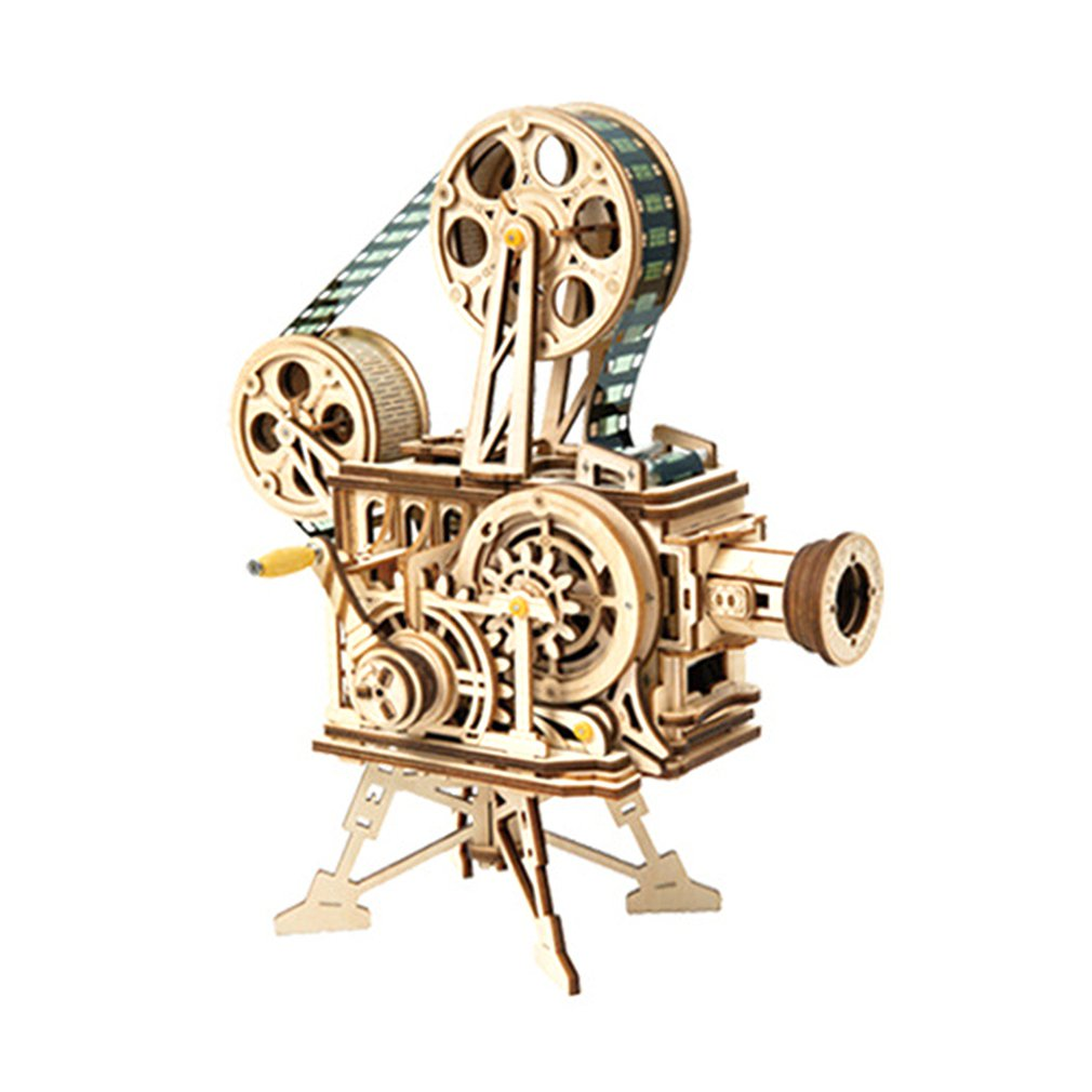 Vintage Projector Retro 3D Three-Dimensional Puzzle Wooden Model Creative Gift Projector Decoration Puzzle Game Assembly