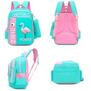 Image 4 - 2020 neue 3D Flamingo Schule Taschen Für Mädchen Jungen Cartoon Shark Rucksack Kinder Orthopädische Rucksäcke mochila escolar Grade 3 5