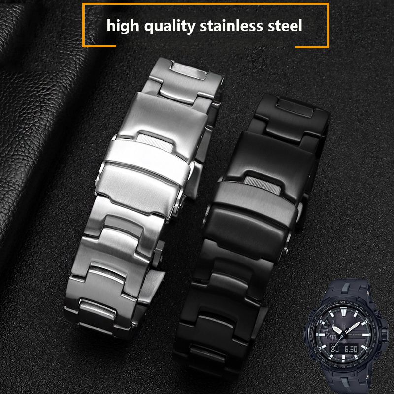 high quality stainless steel watchband for PRW-3000\3100\6000\6100 series Dedicated interface wrist straps 22*16mm bracelet