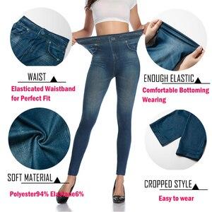 Image 4 - נשים Slim אופנה חותלות פו ג ינס ג ינס אישה כושר מכנסיים Jeggings חותלות הדפסה מזדמן מכנסי עיפרון בתוספת גודל