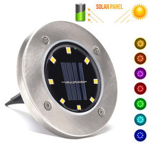 2 Sets RGB Solar IP67 LED Garden Lights Bulb Ground Lawn Lights Waterproof Lamps Underground Landscape Lights for Pathway Street