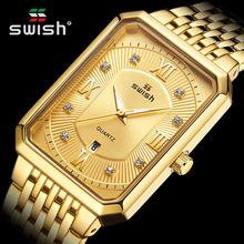 Часы наручные мужские кварцевые с квадратным циферблатом брендовые