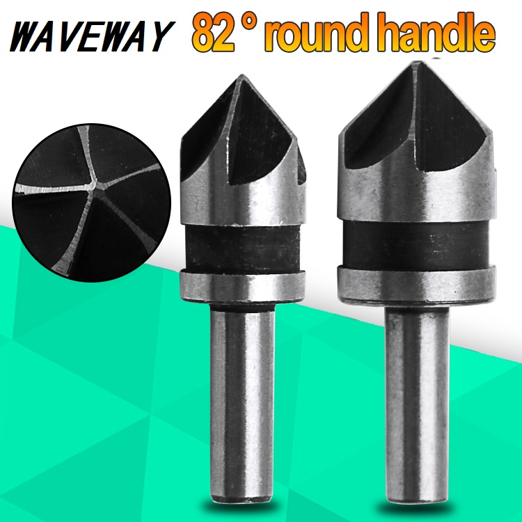 2pcs 5 Flute High Speed Steel Industrial Countersink Drill Bit Set Counter Sink Edge Chamfer Cutter 1/4 Shank Round Shank For Po