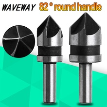 цена на 2pcs 5 Flute High Speed Steel Industrial Countersink Drill Bit Set Counter Sink Edge Chamfer Cutter 1/4 Shank Round Shank For Po