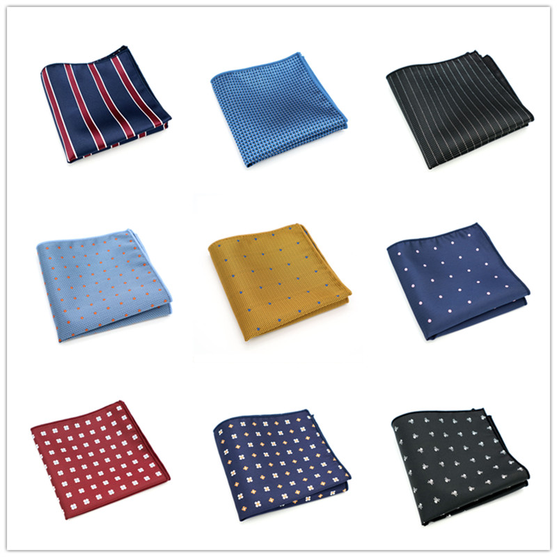 SF01 Men's Suit Pocket Square 22*22cm Handmade Stripes Dots Handkerchiefs For Men  Hankies Turned Finish Drop Shipping Wedding