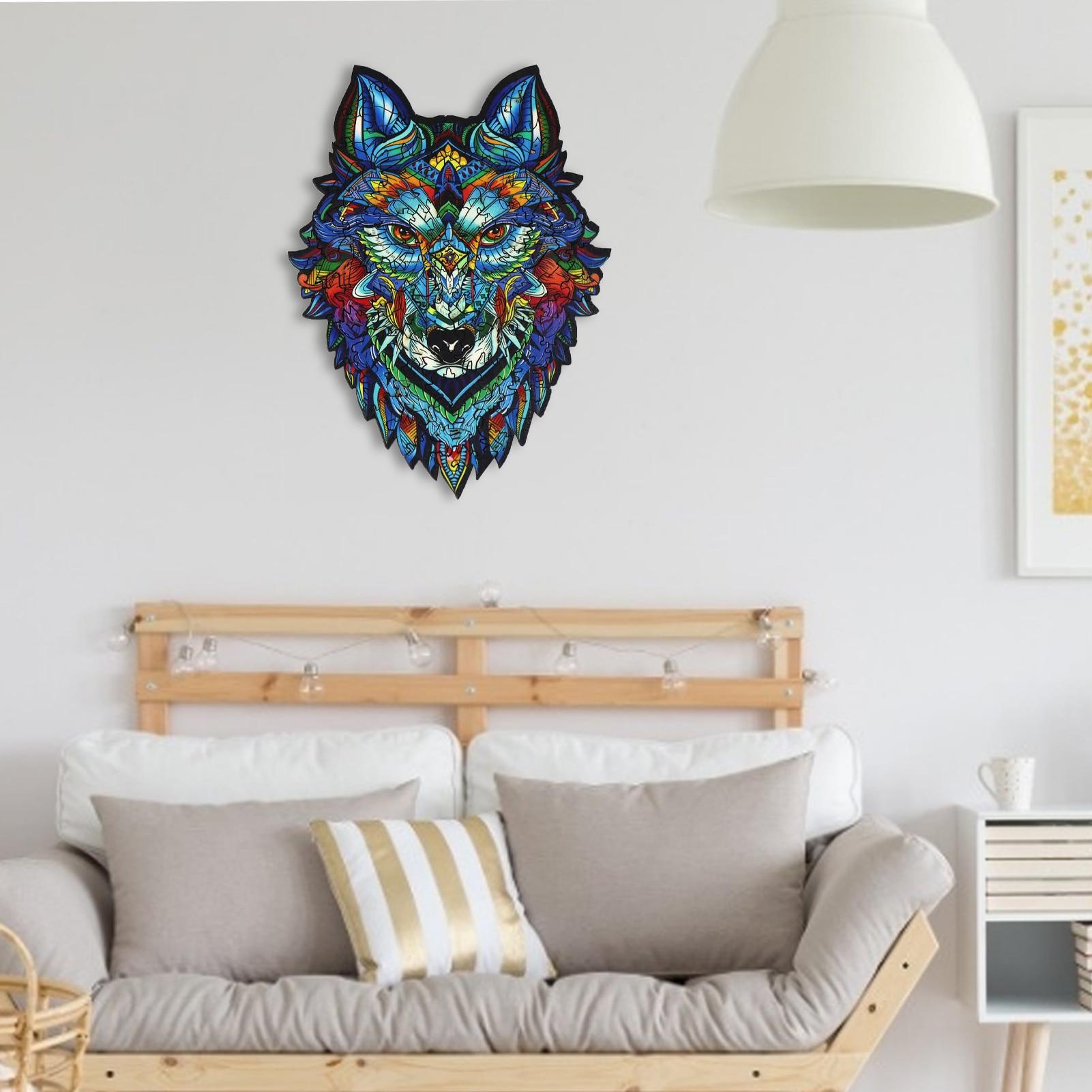 فريدة من نوعها خشبية بانوراما الألغاز غامض الذئب ثلاثية الأبعاد قطعة بازل على شكل حيوانات هدية رائعة ألعاب تفاعلية لعبة للكبار الأطفال التعليمية