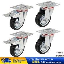 Roues de roulettes pivotantes résistantes de 100mm 200kg avec 2 roulettes de chaise de meubles de chariot d'unité centrale de frein 4 pièces