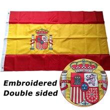 Dwustronna haftowana szyta flaga hiszpanii Banner hiszpańska flaga narodowa haft światowy kraj Banner tkanina Oxford