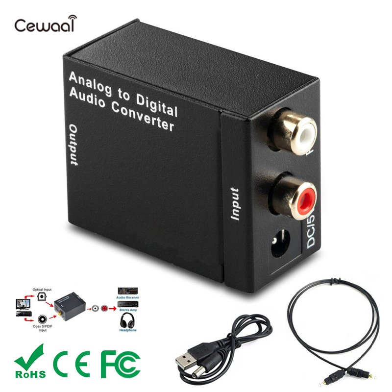 Black Digital Optical Coaxial Toslink Signal To Analog Audio Converter Adapter RCA Digital To Analog Audio Converter Adapter