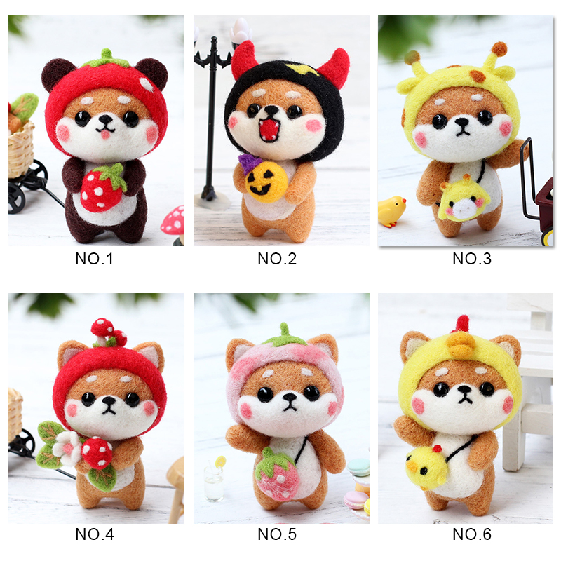 LMDZ 1Pcs Toy Doll Wool Felt Poked Felt Craft DIY Non Finished Poked Set Handcraft Kit For Needle Material Bag Pack Felt DIY