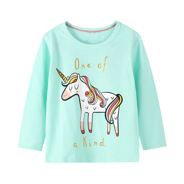 VIDMID baby Girls cotton long sleeve unicorn t-shirts baby kids cartoon casual clothes 2-7 years children t-shirts clothing W01 6