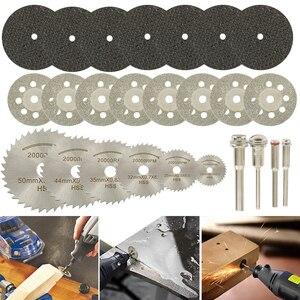 Image 2 - 32 sztuk zestaw brzeszczotów tarczowych HSS Mini żywiczne tarcze tnące diamentowe tarcze tnące narzędzia obrotowe akcesoria do Dremel Wood Plastic
