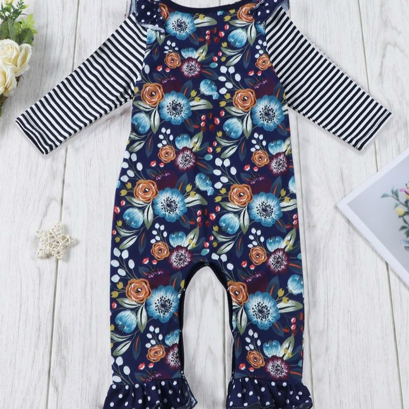 Модный комбинезон для маленьких девочек с цветочным принтом