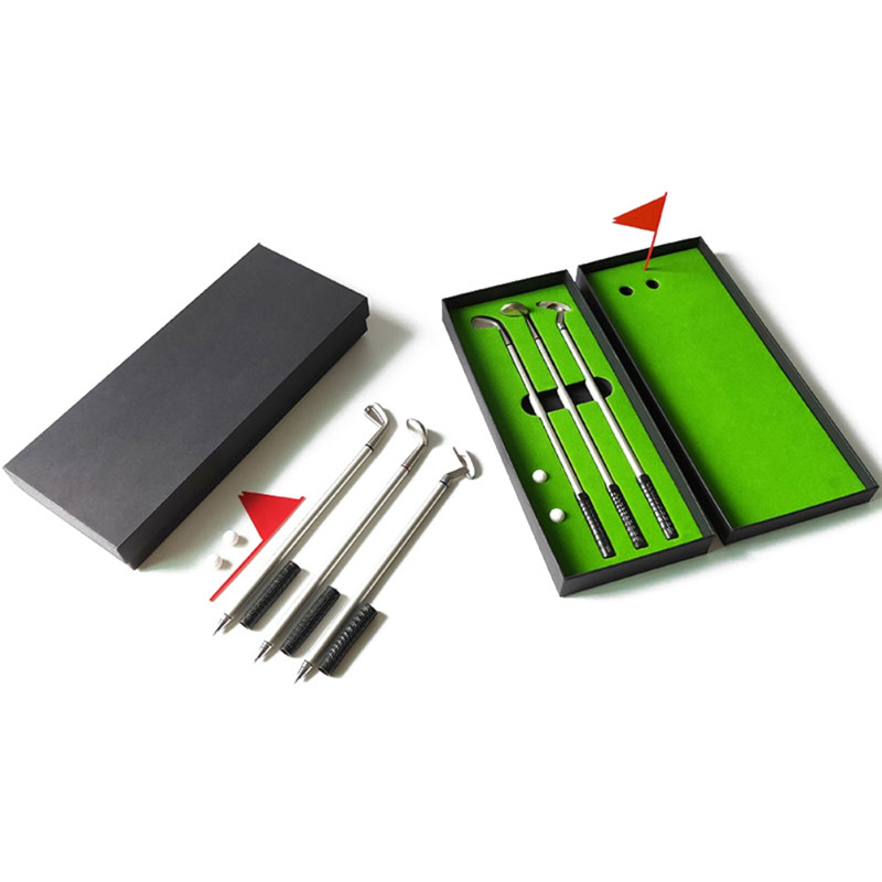 Golf Mini Course Pole Club Set Golf Pen Set Mini Desktop Golf Ball Pen Gift Set Putting Green Flag Golf Clubs Models Ballpoint