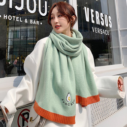 Brand Scarf female ins fashion butter fruit green Bib dual purpose Student Korean version versatile department girl warm shawl