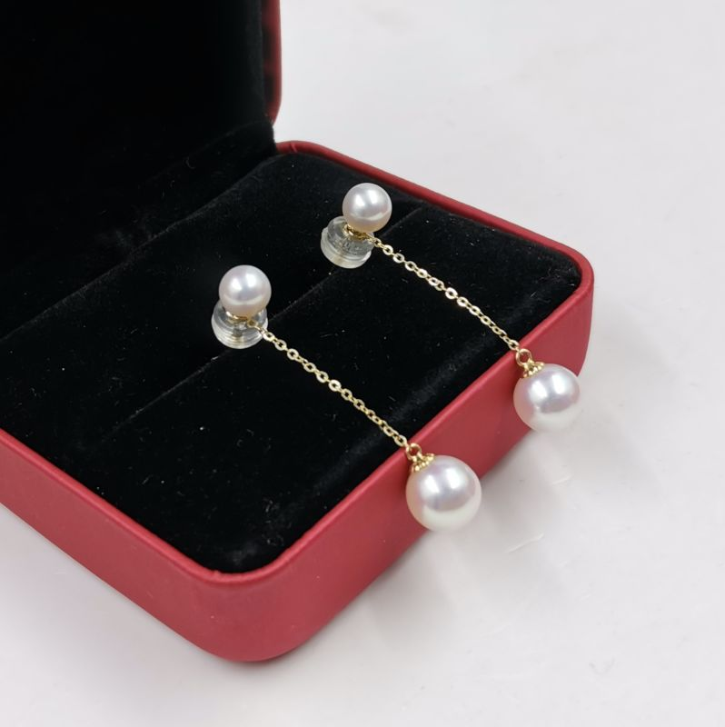 Newly AAA studs & dangle style AAA Round Fw Pearl women earring G18K with certificate