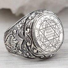 Moda antigo grego de cinco pontas estrela astronômica figura anel de boa sorte amuleto personalidade religiosa anel de jóias masculinas presente