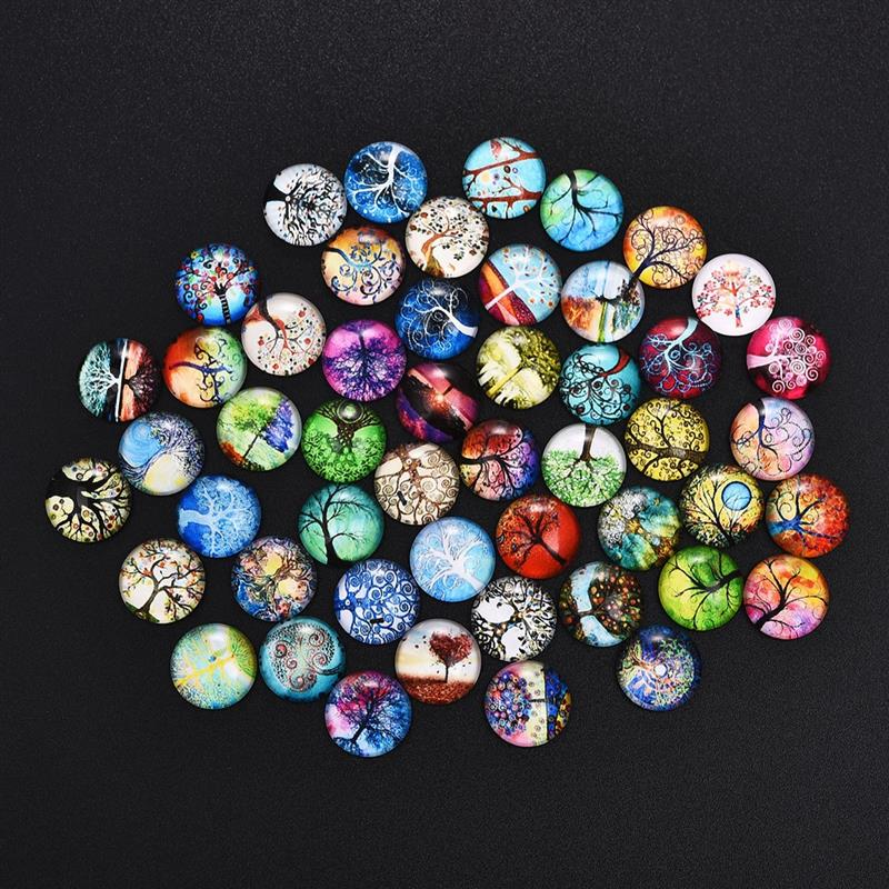 Tree of Life 20pcs 25mm Round Flat Back Tree of Life Glass Dome Cabochon Settings Handmade Image Photo Glass Cabochons for Jewelry and Pendant Making