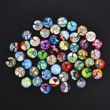50Pcs Tree Of Life 12/20/25mm Cabochons Glass Dome Round Flat Back for Earring Bracelet base DIY Jewelry Making Handmade Finding