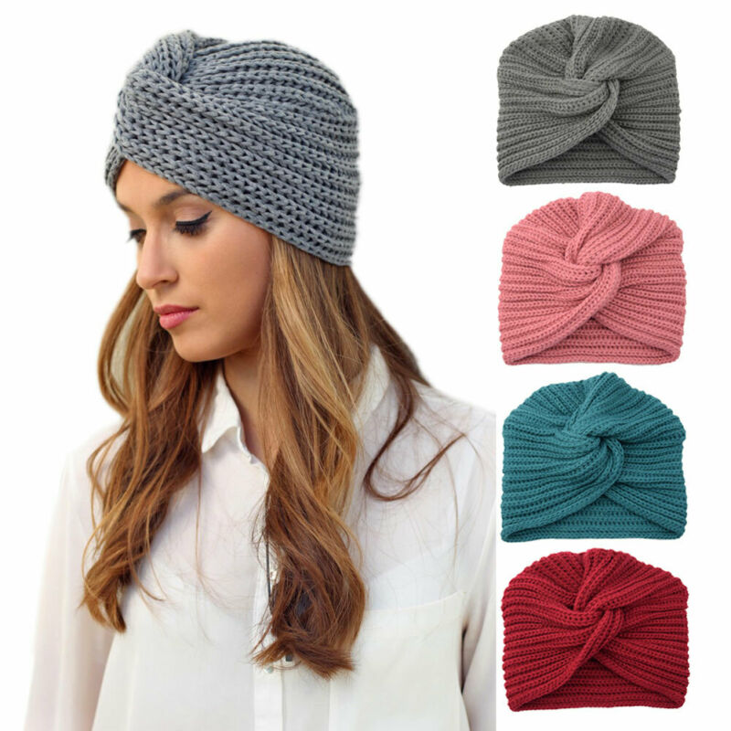 Women Warm Winter Knit Turban Beanies Cross Twist Wrap Cap Hair Beanie Hat Multicolor
