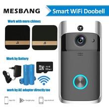 Wideodzwonek Wifi bezprzewodowy inteligentny dzwonek do drzwi kamera interkomowa zasilanie bateryjne dzwonienie telefoniczne z gongu wykrywacz ruchu karty TF