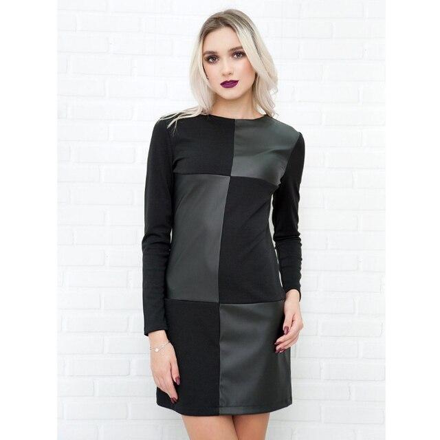 Women Vintage Leather Patchwork Elegant Office Dress 1