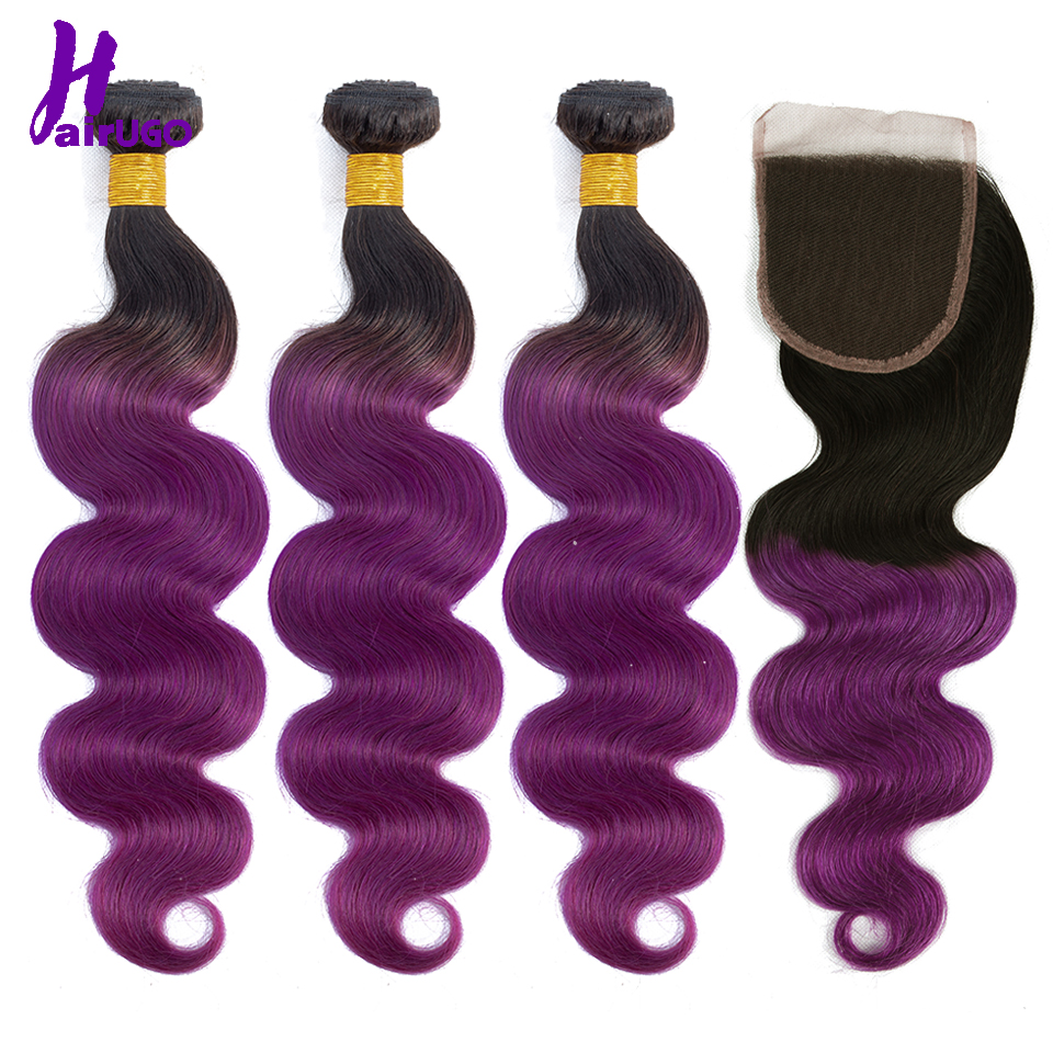 1B/Purple Human Hair Bundles With Closure 4*4 Non Remy Ombre Malaysian Hair Bundles Body Wave HairUGo 100% Human Hair Extensions