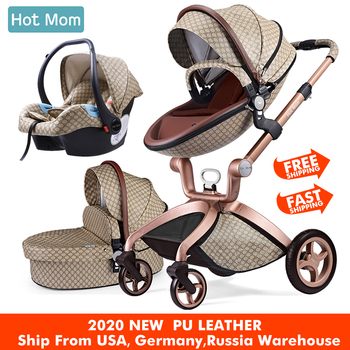 Baby Stroller 3 in 1,Hot Mom travel system High Land-scape stroller with bassinet in 2020 Folding Carriage for Newborns baby,F22 high landscape baby stroller can sit reclining folding light two way four wheel shock absorber baby stroller