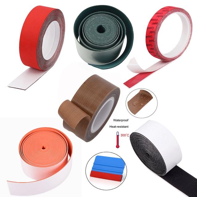 EHDISไวนิลไม้กวาดไม่มีรอยขีดข่วนป้องกันผ้าขอบฟิล์มคาร์บอนไฟเบอร์ติดตั้งWindow Tint Scraperกันน้ำPTFE Protector