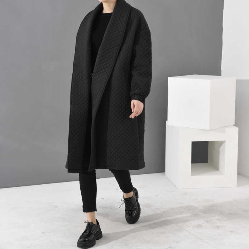 LANMREM 2020 europejska najwyższa jakość kurtka jesień kobiety duże rozmiary długa luźna czarna wiatrówka długi płaszcz WTH1201