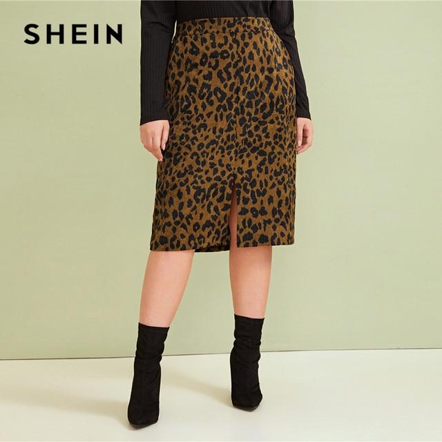 SHEIN Plus Size Leopard Print Split Front Casual Pencil Skirt Womens Bottoms 2019 Autumn Faux Fur Glamorous Straight Midi Skirts