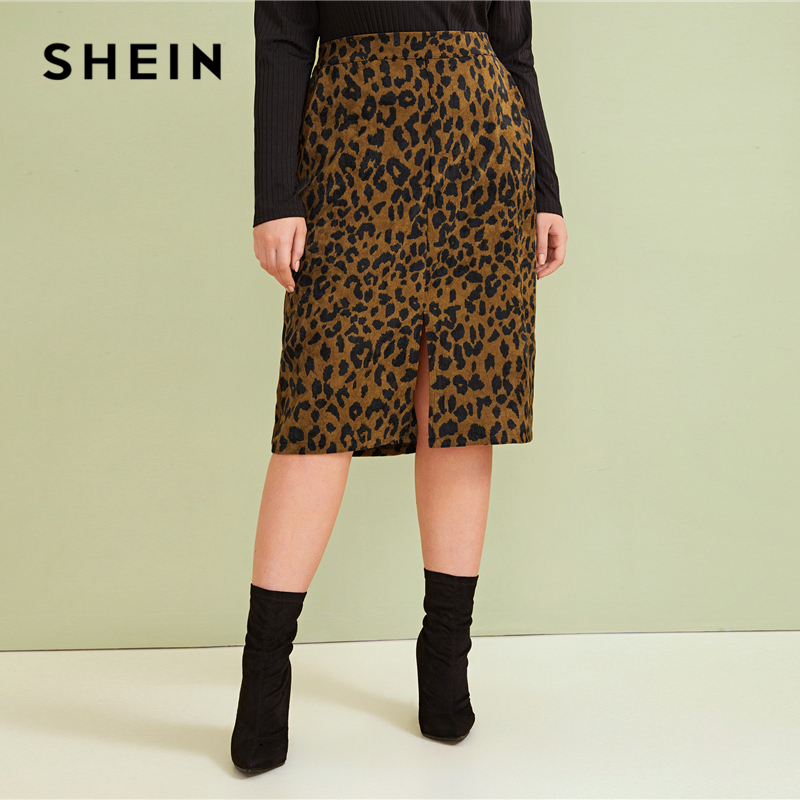 SHEIN Plus Size Leopard Print Split Front Casual Pencil Skirt Womens Bottoms 2019 Autumn Faux Fur Glamorous Straight Midi Skirts