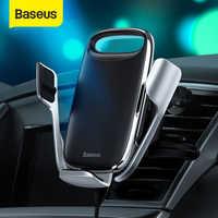 Baseus 15 w qi sem fio carregador de carro suporte do telefone para iphone samsung qc 3.0 sem fio de carregamento ar vent montar suporte móvel