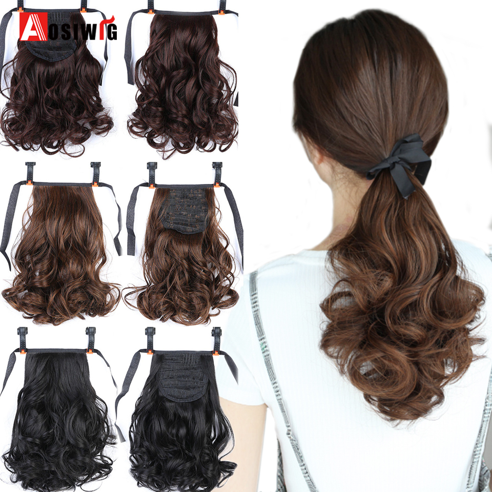 AOSIWIG Female Hair Short Curly Hair Tail Natural Clip In Hair Extensions Ponytail Heat Resistant Synthetic Drawstring Hairpiece