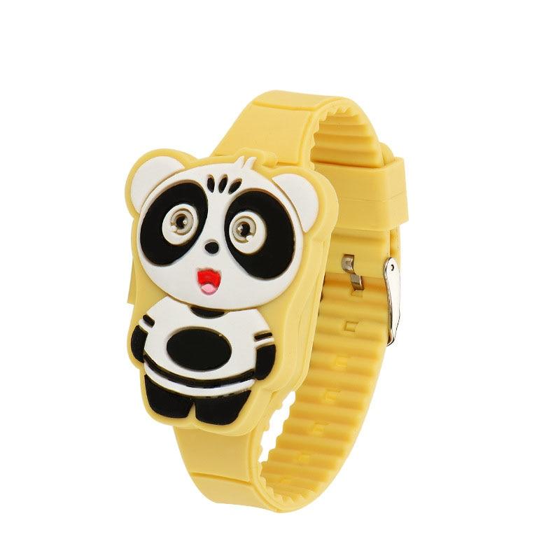 New 1 Pcs Kids LED Electronic Watch Silicone Band Cartoon Panda Flip Case Wrist Watch Lovely Gift MV66
