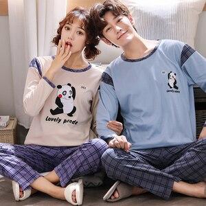 Image 5 - Neue Frühling Herbst Paar Pyjamas Set Plus Größe M 4XL Langarm Baumwolle Pyjama Niedlichen Cartoon Pyjama Für Männer Und Frauen