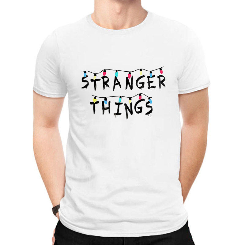 Купить со скидкой LUSLOS Stranger Things T Shirt Men Tshirt Letter Printed Fashion Man Tee Tops Streetwear Harajuku T-
