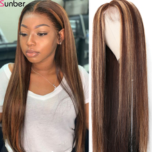 Straight Honey Blond Ombre Highlight Lace Front Wigs Remy 13