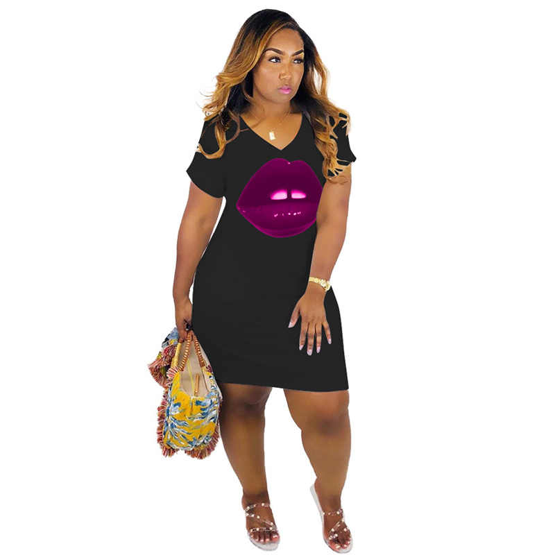 Womens Heart Print Half Sleeve T-shirt Dress Summer Bodycon Mini Dress Clubwear